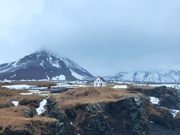 Westiceland Snaefellsnes Peninsula Littlehouse Snowcapped Mountain Landscape Winter Scenics Beauty In Nature Nature Snow Iceland Icelandichomes Arnastapi IPhone7Plus Nofilter