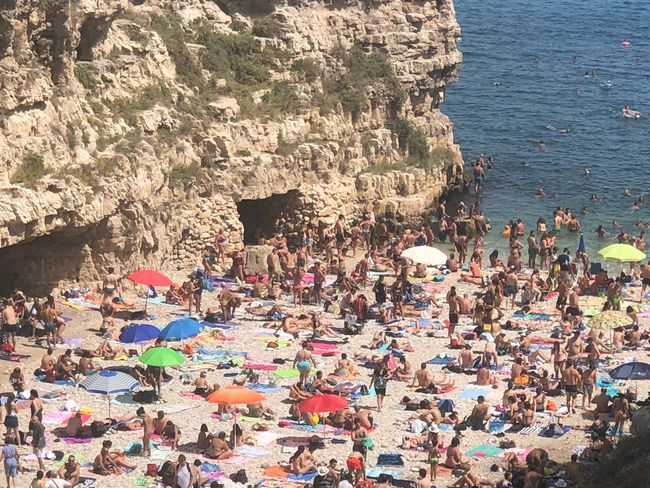 High Angle View Day Beach Sunlight Water Large Group Of People Group Of People