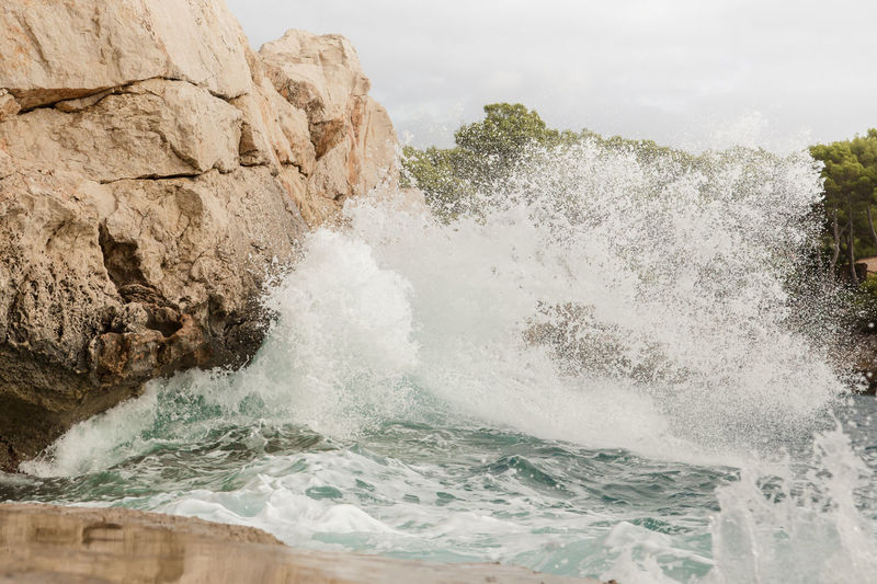 Wave on the coast of Mallorca Beauty In Nature Clouds And Sky Coast Coastline Day Dynamic Holiday Horizont  Mallorca Nature No People Ocean Outdoors Sea Sea And Sky SPAIN Travel Water Waterfront Waves Waves Crashing On Rocks Waves, Ocean, Nature