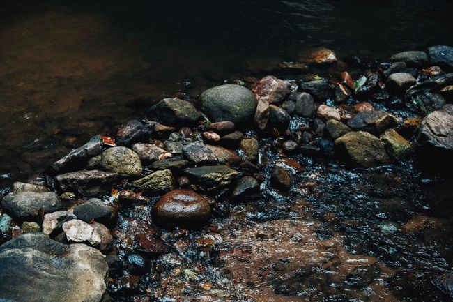 Many color of rocks Water No People Nature High Angle View Rock Beach Solid Stone Rock - Object Beauty In Nature