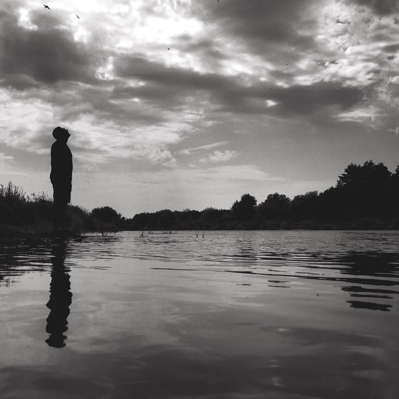 Low Angle View Of Silhouette Man Standing By Lake Against Cloudy Sky
