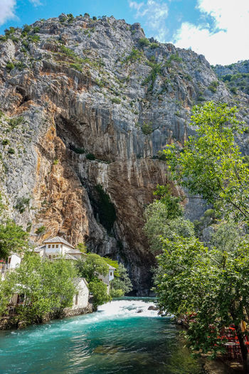 Blagaj Blagaj Tekija Bosnia And Herzegovina Mostar Rock Travel Beauty In Nature Beauty In Nature Cliff Flowing Flowing Water Formation Nature No People Religion Rock Rock - Object Rock Formation Scenics - Nature Tourism Tranquil Scene Travel Destinations Tree Water Waterfall