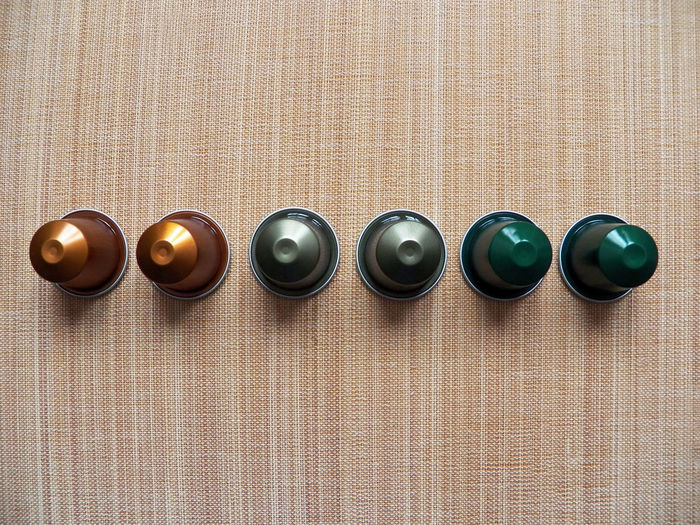 Spring colors and one line Alignment Shells Nespresso Coffee Capsules Cones Items Pods 6items Coffees Coffee Break Copper  Copper Green Green Colors Premium Premium Collection Colored Photography