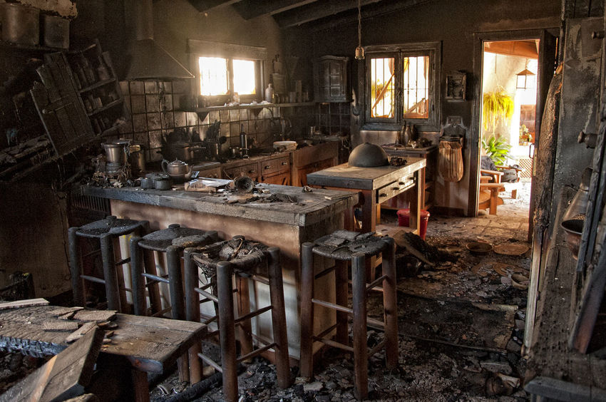 After The Fire Burned Damaged Architecture Abandoned Bad Condition Building Burned Items Burned Objects Burned Stuff Damaged Damaged Building Damaged By Fire Damaged By Smoke Damaged Stuff Dirt Dirty Furniture Home Interior House Messy No People Obsolete Old Ruined Run-down