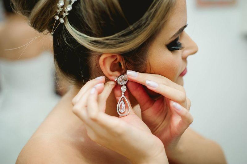 Close-Up Of Beautiful Woman Wearing Earring