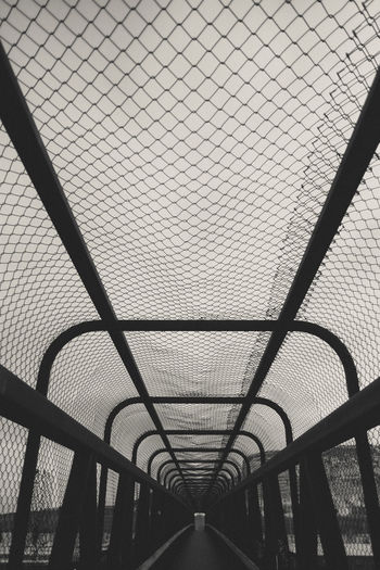 Chainlink covering empty footbridge