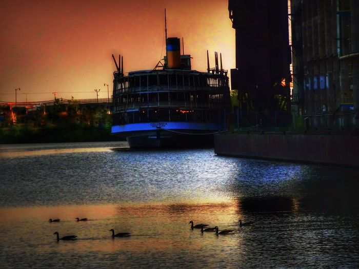 Architecture Building Exterior Built Structure Water Sunset No People Nautical Vessel Outdoors Waterfront City EyeEm Gallery EyeEm Best Edits Travel Destinations Sky Nature Illuminated Animal Themes Day Steamship Capture The Moment Good Morning