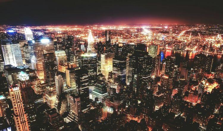 New York nights New York Night Buildings Skyscraper Moody Lights Aerial View Illuminated Sky Urban Skyline Office Building Skyline Tall - High Tower