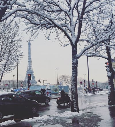Snow in Paris Travel Destinations Tower Architecture Tourism Tree Built Structure Travel Bare Tree Real People Car Women Building Exterior Outdoors City City Life Day Sky Large Group Of People Transportation Nature