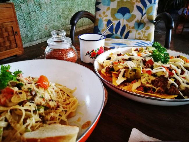 Food Plate Food And Drink Ready-to-eat Table Italian Food Serving Size Healthy Eating Freshness Indulgence No People Indoors  Meal Temptation Close-up Day Nachos Pasta Aglio Olio Whatsonmyplate Whatsonmytable Bali, Indonesia Followback