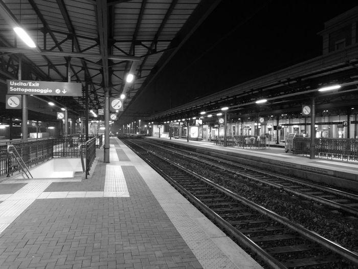 Railroad station at night