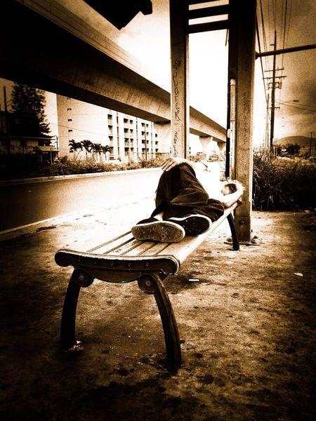 Homeless man sleeping at a bus stop Streetphotography Blackandwhite EyeEmNewHere