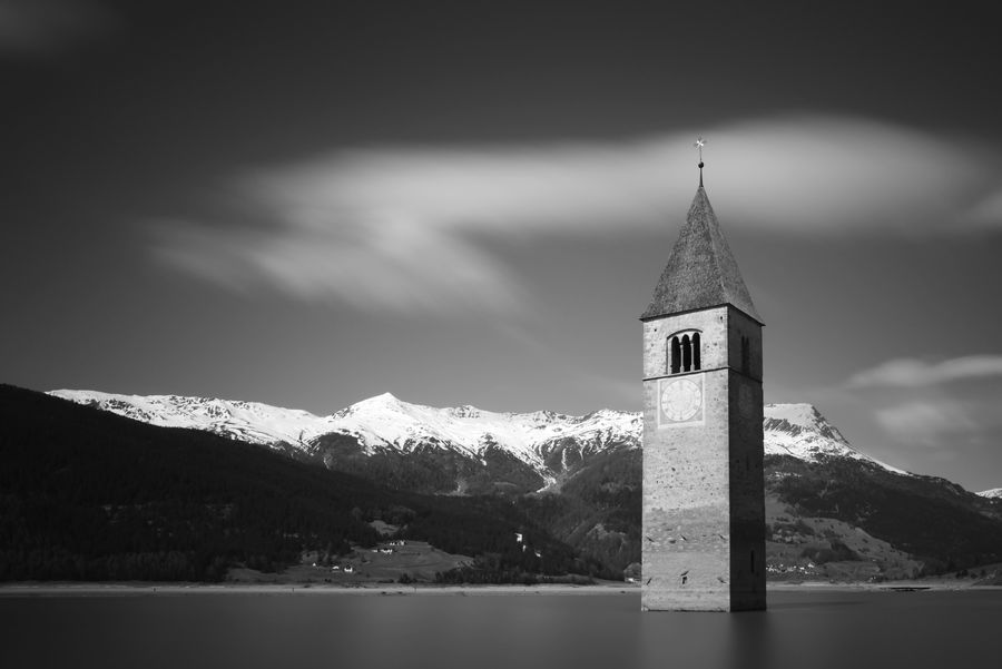 Church Graun Italia Nature Reschensee Alps Clouds Forgotten Places  Lake Long Exposure Mountain No People Ricoh Gr Silence Sky Snow Tower Vinschgau Winter Landscape Black And White B/w Black And White Friday
