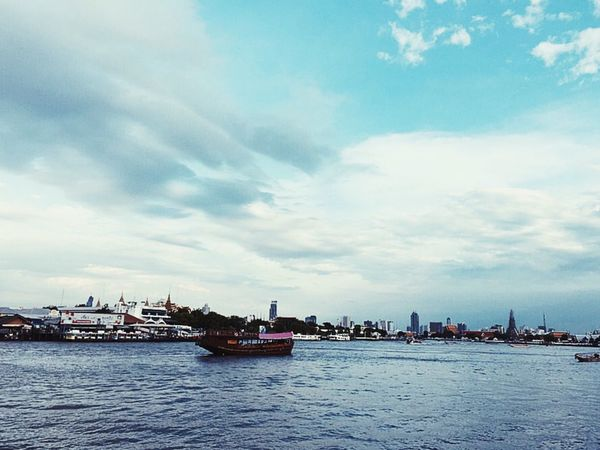 Miles Away Cloud - Sky Bangkok Thailand Waterfront Sunset Sky Transportation On The Boat Water Life In The River Nautical Vessel Nature City Scenics Beauty In Nature