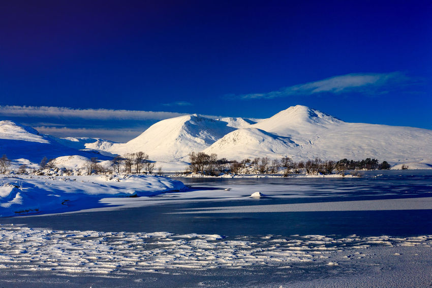 Beauty In Nature Blue Cold Temperature Day Frozen Landscape Mountain Mountain Range Nature No People Outdoors Rannoch Moor Scenics Sky Snow Snowcapped Mountain Tranquil Scene Tranquility Winter