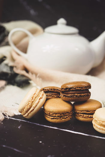 Food And Drink Food Freshness Sweet Food Baked Indoors  Still Life Close-up Cookie Drink No People Sweet Table Ready-to-eat Focus On Foreground Teapot Dessert Cup Temptation Crockery Baked Pastry Item Snack Macaroon Macarons French Food