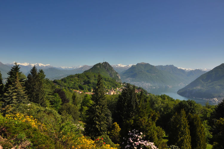 Scenic View Of Monte San Salvatore Against Clear Sky