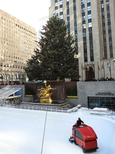 Rockefeller Center Christmas Tree Ice Skating Rink Zamboni Buildings In Background People Flags Waving NYC Christmas Photography