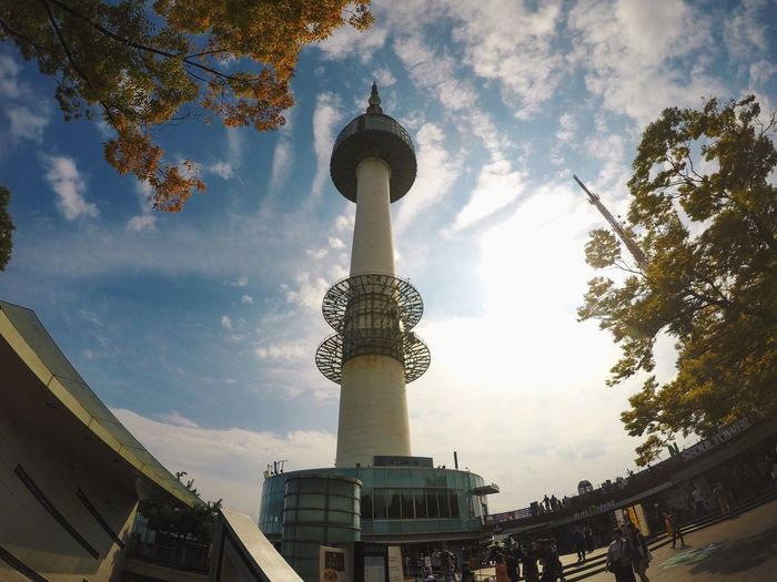 Architecture Sky Built Structure Building Exterior Travel Destinations Low Angle View Cloud - Sky Dome Religion Day Tree Outdoors City Travel Spirituality No People Nature Seoultower Namsan Tower