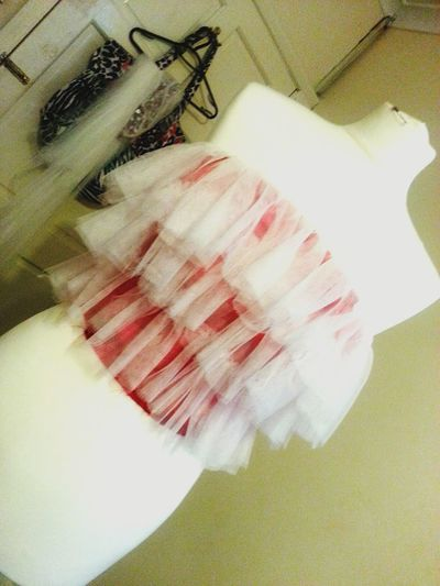 Inprocess Collegework Fashionshow2015 Finalproject 2nddress Ruffles Redandwhite