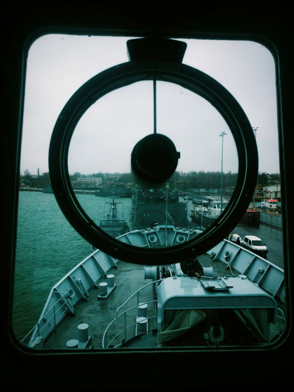 circle, window, transportation, no people, water, nautical vessel, day, close-up, indoors, sky, nature