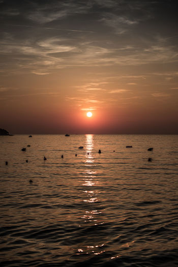 Adria Boat Cloud Holiday Kroatia Orange Sea Sunset Water Wave First Eyeem Photo