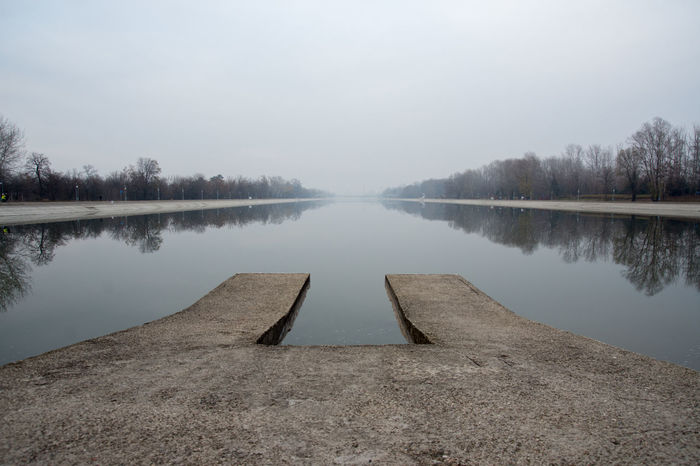 Rowing channel Plovdiv, Bulgaria Autumn Beauty In Nature Day Fog Lake Nature No People Outdoors Pontoon Reflection Rowing Channel Sky Tranquil Scene Tranquility Tree Trees Trees And Sky Water