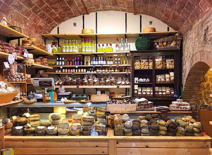 Cheese Olive Oil Bricks Store Italy Shelf No People Food Variation Travel Retail  pasta Roustic