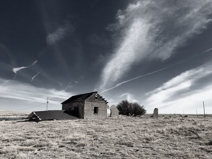 """Mystery Ranch No. 15"" The Collapse. New Mexico Photography New Mexico Skies New Mexico Collapsed Building Old Buildings Abandoned Buildings Abandoned Places Abandoned Built Structure Architecture Sky Building Exterior Field No People Outdoors Cloud - Sky"