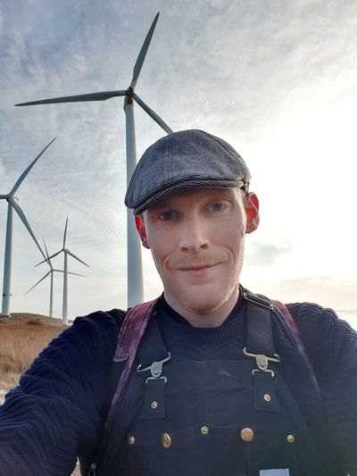 Selfie Windmill Wind Turbine Wind Power Technology Power In Nature Portrait Environmentalist Alternative Energy Electricity  Fuel And Power Generation