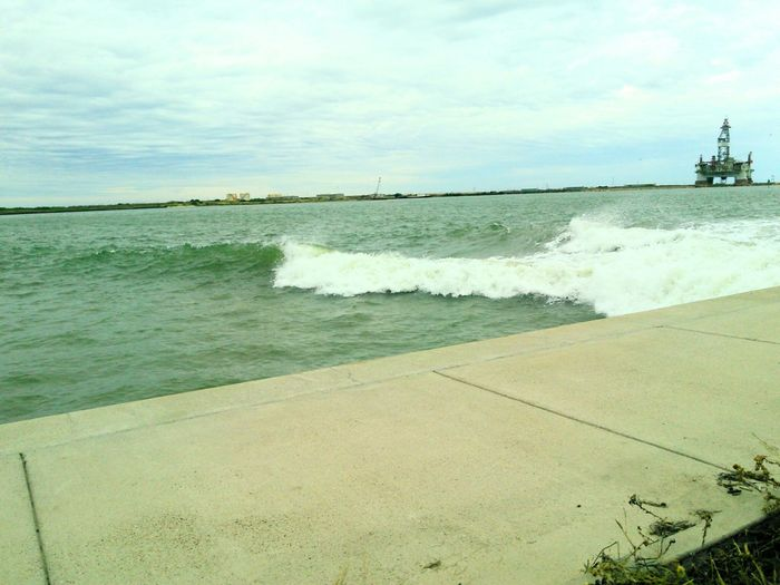 Corpus Christi Ship Channel A Large Wake Strong Wave StrongCurrents Pulling Of Water From Ship Dangerous Caution ⚠️ No Swimming Deep Water