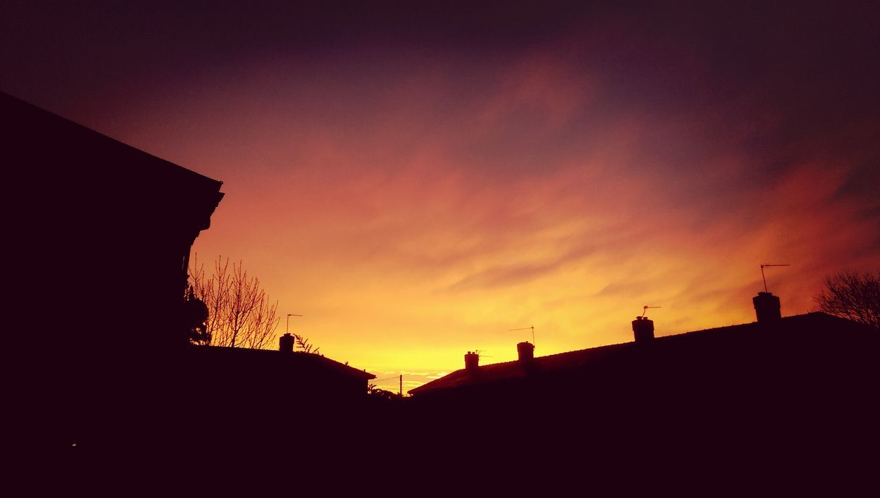 sunset, silhouette, built structure, architecture, building exterior, sky, no people, outdoors, nature, beauty in nature, low angle view, day