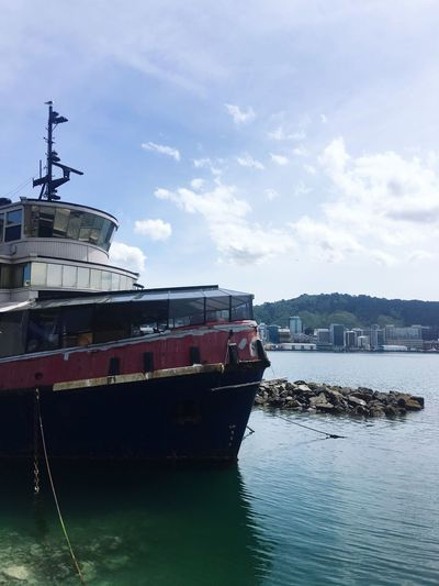 A former tug boat now a cafe Nautical Vessel Water Outdoors Tugboat Boat Boat Cafe Waterfront