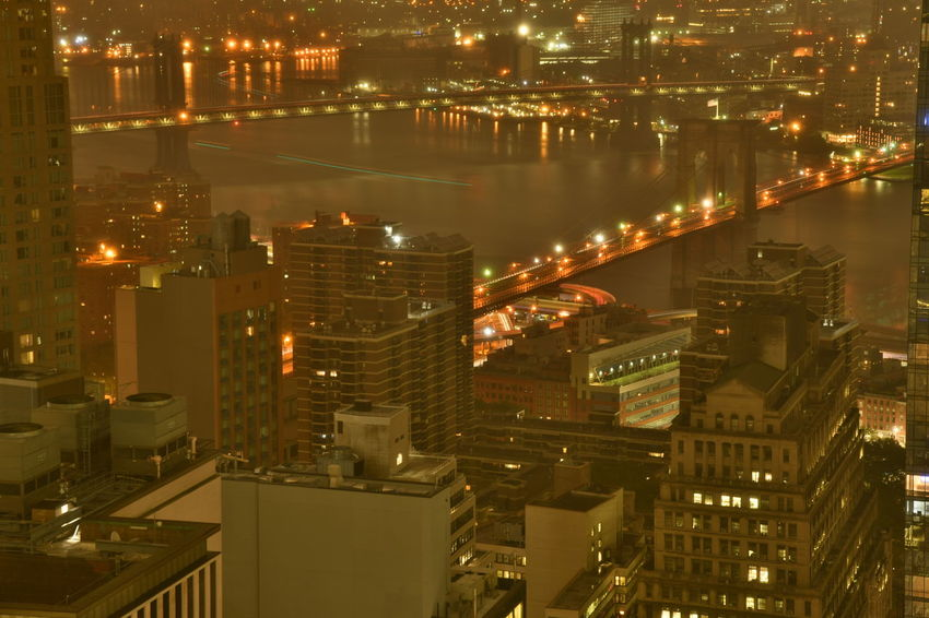 New York Brooklyn Bridge / New York Manhattan New York New York City Apartment Architecture Building Building Exterior Built Structure City City Life Cityscape Financial District  High Angle View Illuminated Modern Nature Night No People Office Building Exterior Outdoors Reflection Residential District Skyscraper Water