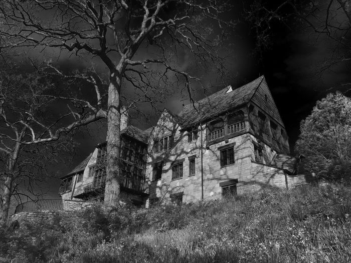An old mysterious house I've been fascinated with. People say it was used by an occult group. Abandoned Architecture Bare Tree Branch Building Exterior Built Structure Dark Sky Darkness Day Eerie Grass Haunted Haunted House Mysterious Nature No People Outdoors Sky Stone Wall Tree
