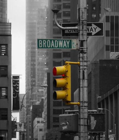 New York City Broadway Black & White Blackandwhite Broadway Colorkey New York City One Way Streetphotography Traffic Traffic Lights
