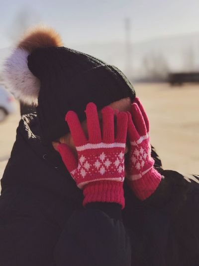 Human Hand Real People One Person Human Body Part Glove Focus On Foreground Leisure Activity Warm Clothing Lifestyles Human Finger Day Outdoors Close-up Red Winter Headshot Sky People