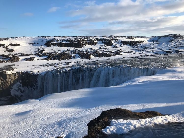 Iceland detifoss Magnificent Snow Iceland Waterfall Winter Cold Temperature Sky Snow Beauty In Nature Cloud - Sky Scenics - Nature White Color