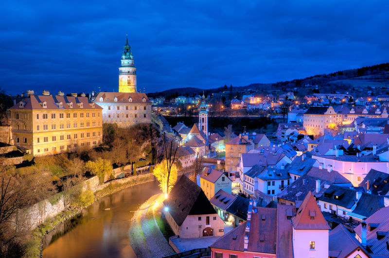 Architecture Blue Building Exterior Built Structure City City Life Cityscape Cloud - Sky Czech Czech Republic Illuminated Night Night View No People Outdoors Residential Building Residential District Residential Structure Sky Town TOWNSCAPE Travel Travel Destinations Water Český Krumlov