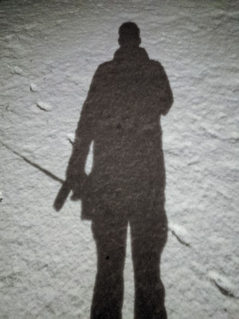Men's shadow over the snow Silhouette Night Outdoors Shadow Snow