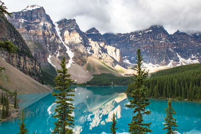 Banff National Park  Moraine Lake  Nature Tree Beauty In Nature Blue Canada Cute Hellobc Lake Mountain Nature No People Nofilter Reflection Tranquility Tree Water