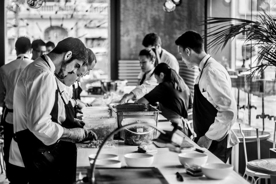 Blackandwhite El Barri Adrià Kitchen Michelin Star Monochrome Monochrome_life People Restaurant Tickets
