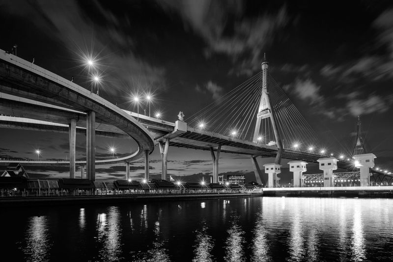 The Bhumibol's bridge in B&W tone Architecture Bhumibol Bridge Black And White Blackandwhite Engineering Light Light And Shadow Night Reflection River Waterfront Watergate Ladpho Canal Canal