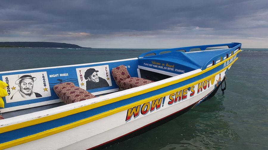 Jamaica is hot Boat Reggae Island Jamaica Rastaboat Sea Water Nautical Vessel Beach Outdoors Day No People