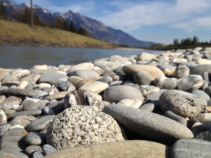 Stones by river