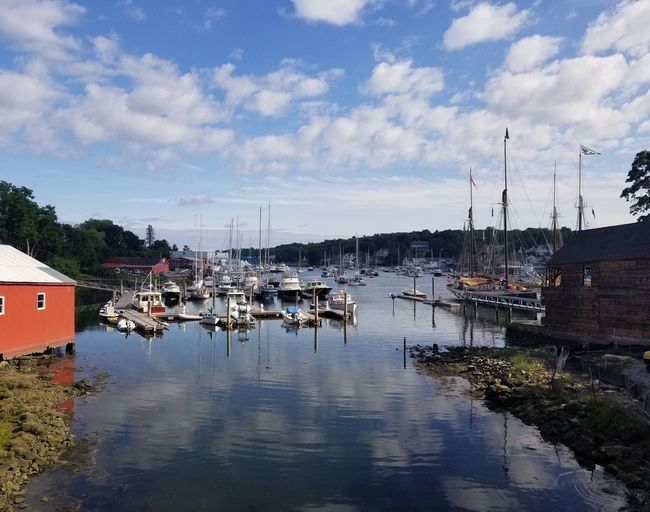 Harbor in Camden on Penobscot Bay, in Maine's MidCoast region. Maine Camden Town Camden Reflection Reflections In The Water Port Harbor Moored Nautical Vessel Architecture Copy Space Space For Text No People Sailboat Waterfront Marina Yacht Red Color Cloud - Sky Outdoors Dock Nautical New England  Pier Water