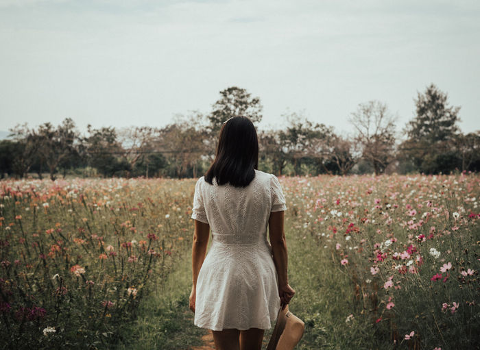 EyeEm Best Shots Young Women Women Rural Scene Beauty Human Back Summer Rear View Back Portrait Poppy Wildflower Growing Countryside Patchwork Landscape Flower Head Tranquil Scene Pollen In Bloom Cherry Blossom Blooming Tranquility Blossom
