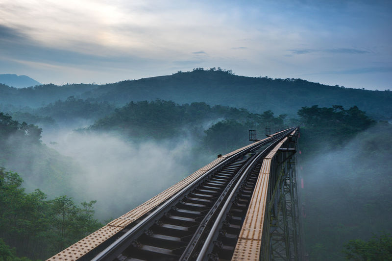 The longest active railroad bridge in Indonesia, the Cikubang bridge. Fog Sky Tree Plant Cloud - Sky Rail Transportation Nature Transportation Beauty In Nature No People Mountain Scenics - Nature Track Built Structure Railroad Track Architecture High Angle View Day Outdoors Cikubang Bridge Train Mystic INDONESIA