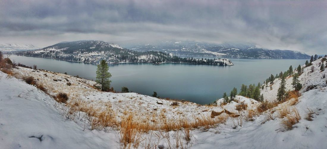 Scenic view of snow covered mountains snd lake against sky