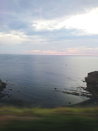 on a train Eyemouth Ontrain Trip Journey Water Sea Beach Sunset Swimming Reflection Sky Landscape Cloud - Sky Horizon Over Water